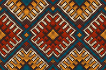 Traditional Tribal Aztec seamless pattern on the wool knitted te
