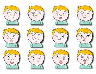 Diverses expressions sur garçonnet