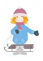 dziewczynka w czapce z sankami - wektory