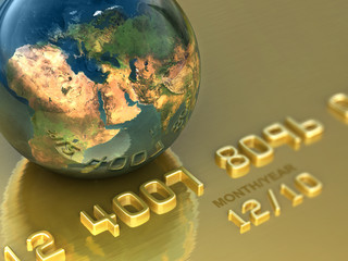 Travel with gold credit card. Business illustration