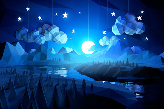 Low Poly Midnight Landscape