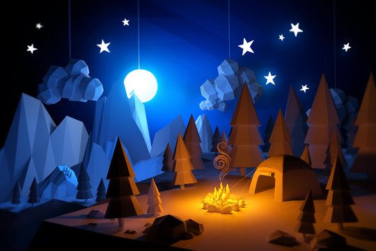 Low Poly Camping Adventure