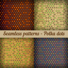 Polka dots. Set of seamless patterns.  Abstract background