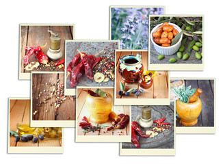 Images with a variety of different spices and spice grinder. col