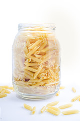 Pasta in a glass pot