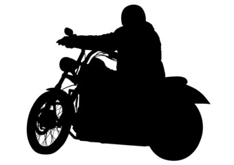 Wall Mural - Motorcyclist on road