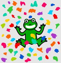 Foto auf Leinwand Kreaturen a frog festival under a shower of color