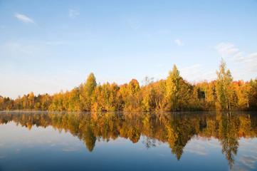 Осенний лес на берегу реки