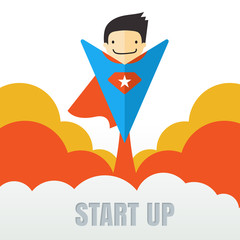 Superhero flying. Creative business start up concept . Vector ca