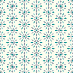 Turquoise Abstract Circle and Rhomboid Pattern on Pastel Backgro