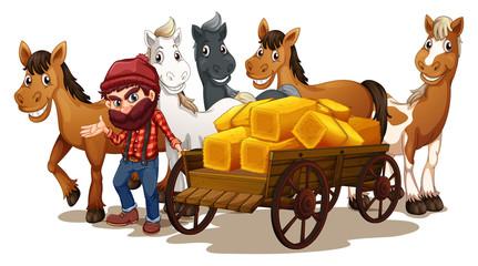 Farmer and horses