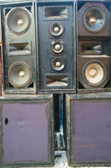 Old powerful stage concert audio speakers