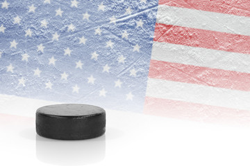 Hockey puck and the American flag