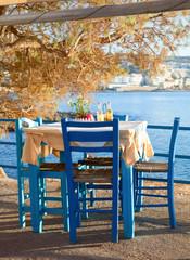 Foto op Aluminium Poolcirkel Seaside cafe terrace