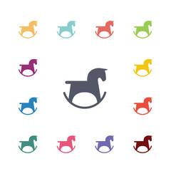 horse toy flat icons set.