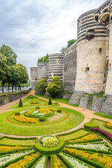Garden and bastions of fortress in Angers