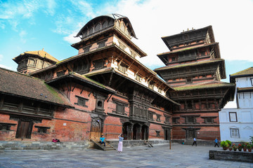 the architecture in kathmandu durbar square in nepal