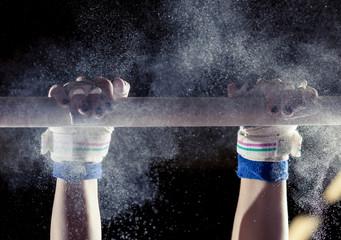 Aluminium Prints Gymnastics hands of gymnast with chalk on uneven bars
