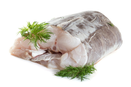 Eel fillet with spices. Isolate on white background