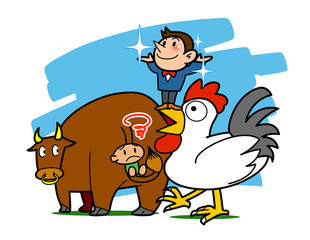 Deurstickers Piraten Proverb-The mouth of the chicken than the tail of a cow