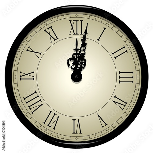 Horloge ancienne lumineuse minuit photo libre de for Horloge lumineuse