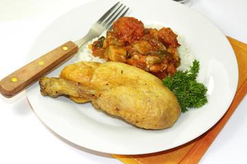riz, ratatouille et poulet