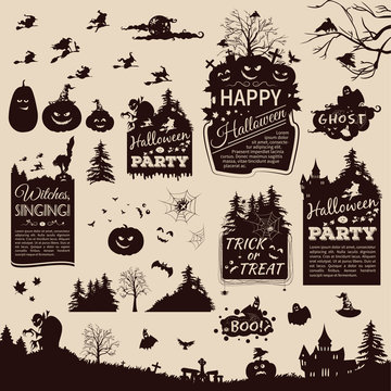 Collection of silhouettes and banners for Halloween