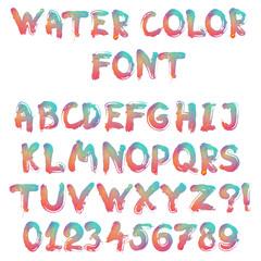 Handwritten calligraphic watercolor alphabet