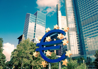 Euro Sign. European Central Bank (ECB) is the central bank for t