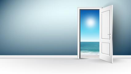 porta aperta, porta bianca, stanza, panorama