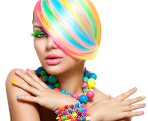 Beauty Girl Portrait with Colorful Makeup, Hair and Accessories