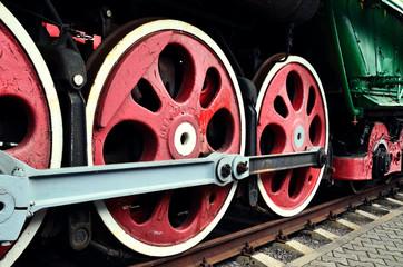 wheel detail of a vintage steam train locomotive
