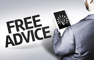 Business man with the text Free Advice in a concept image