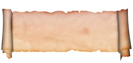 Medieval parchment on a white background. Ancient scroll.