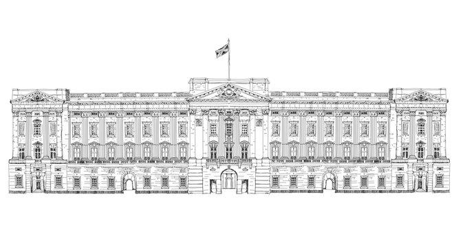 Sketch offamous buildings. London, Buckingham palace