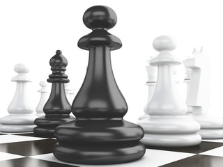 Black vs wihte chess 3d concept