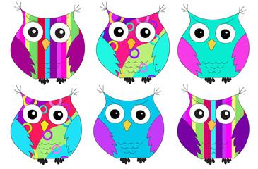 six colorful owls pattern
