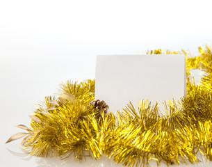 Fototapeta White paper frame at marble Table with bokeh golden sparkling ba obraz