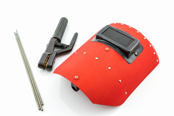 Red protective screen and rod-holder with Welding electrodes wir