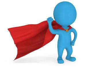 3d man brave superhero with red cloak