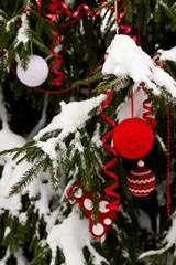 Christmas balls outdoors