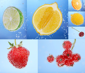 Collage of fruit and berries in water with bubbles