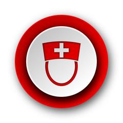 nurse red modern web icon on white background