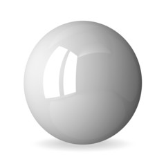 White shiny sphere isolated