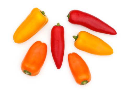 Group Sweet Mini Peppers isolated on white