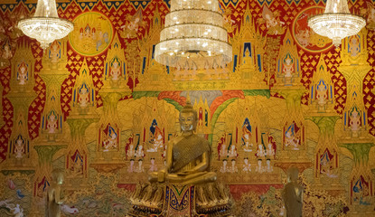 Buddha Statue and Painting in Wat Hualamphong in Bangkok Thailan