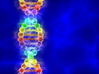 Rainbow DNA (deoxyribonucleic acid) on blue background