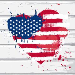 USA flag in heart shape