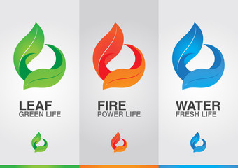 3 elements of the world. Leaf Fire Water.