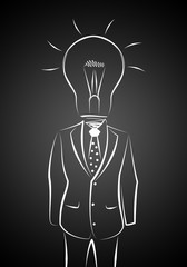 full length business male with lamp-head in suit